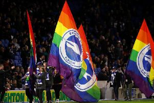 Stonewall's Rainbow Laces campaign was held at the Amex Stadium against Wolves last Sunday