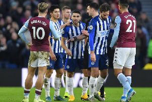 Neal Maupay was involved in heated exchanges against Aston Villa at the Amex last Saturday