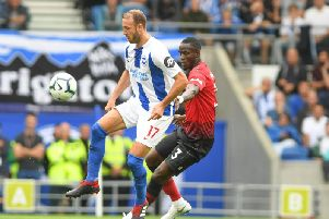 Glenn Murray in action against Manchester United. Picture by PW Sporting Photography
