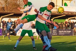 Dan Smith, right, is one of the Pompey loanees due to face Three Bridges / Picture by Tommy McMillan