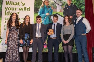 Collone Young Farmers' club members who were honoured with an Ulster Wildlife Grassroots Challenge Award, last week at Craigavon Civic Centre, for their efforts to improve their local environment, for wildlife and people. Pictured alongside the young farmers is (left to right) Orlagh McLaughlin, Ulster Wildlife,  Zita Blair, YFCU deputy president and Andrew Gracey from Ulster Wildlife