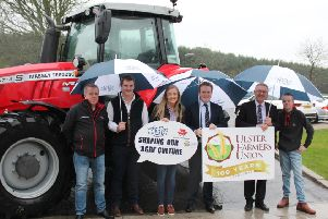 Attending the launch of the 2019 YFCU agri conference left to right are: Nigel Hanna, director of Massey Ferguson dealership Martin Hanna and Partners, James Purcell, chair of YFCU Agriculture and Rural Affairs Committee, Jessica Pollock, vice chair of YFCU Agriculture and Rural Affairs Committee, James Speers, president, YFCU, Ivor Ferguson, president UFU'and Shane Hanna, junior representative, YFCU, Killinchy