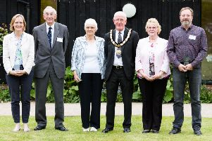 Thame Town Awards - former Mayor of Thame, Cllr Tom Wyse, with the 2018 Thame Town Awards winners. Picture: Caz Wales Photography