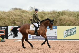 Joanne Jarden riding Quarryhill Calypso, 2nd in the Pre Novice Dressage