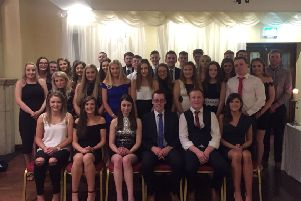The Ahoghill YFC members pictured with guest speaker William Beattie and Judith Coleman