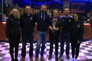 Pictured (left to right) are the winners of the 2018 ten pin bowling trophy, Spa YFC, Hannah Shaw, James Carlisle, Matthew Patterson, YFCU president James Speers, James Ferguson and Nicola Edgar