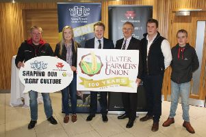 Pictured from left are: Nigel Hanna from Massey Ferguson, Jessica Pollock from YFCU, YFCU president James Speers, UFU president Ivor Ferguson, James Purcell from YFCU and Shane Hanna
