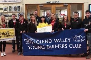 Following a successful fatstock show, sale and charity auction in November, Gleno Valley Young Farmers' Club members alongside Ballymena Livestock Market staff were delighted to present �22,372.54 to Friends of the Cancer Centre