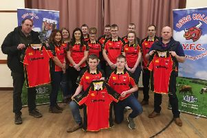 Pictured at the launch of Derg Valley YFC's new tops are sponsors, Gordon Hamilton, G H Engineering, left, and Robert Waugh, Listymore Texels, right. Also helping launch the tops are club members Josh Hamilton and Sam Waugh Elaine Wilson, Lauren Moore, Kathryn Mitchell, Robert Waugh Jnr, Sheryl Hamilton, Samuel Hunter, Mark Hamilton, Leah Hamilton, Ashley Hamilton and Gareth Hamilton