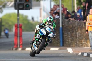Michael Sweeney on the MJR BMW at the Isle of Man TT in 2018.