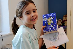 Siena Steadman and one of her favourite David Walliams' titles