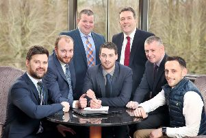 Helping announce the line-up of judges for the 2019 ABP Angus Youth Challenge semi-final event, which takes place on Friday 8th March at CAFRE Loughry Campus, are members of the judging panel front, from left: Andrew Wallace, Business in the Community NI; Daryl Boyd CAFRE Adviser to NI Better Farm Beef Programme; Daryl McLaughlin, Adviser Ulster Farmers Union; Conall Donnelly, Chief Executive Northern Ireland Meat Exporters Association and Seamus McMenamin, Economist NI Livestock & Meat Commission. Pictured with them are George McWhirter, Northern Irish Angus Producer Group and George Mullan, Managing Director, ABP in Northern Ireland.