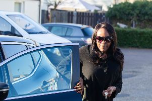 Fiona Onasanya arrives at her home in Peterborough after being released from prison.  Picture by Terry Harris. THA