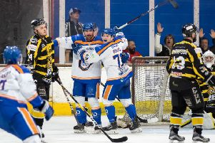 Phantoms celebrate scoring against Bracknell. Picture: Tom Scott