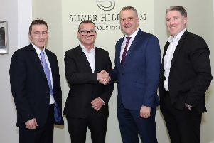 Left to right: Sean McGreevy, Group Finance Officer, Fane Valley Group, Stuart Steele, Trevor Lockhart, Chief Executive, Fane Valley Group, and Miche�l Briody, CEO, Silver Hill Foods, at the announcement of the acquisition of Silver Hill Foods by Fane Valley Group