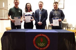 Winners from the 18-21 age category with YFCU president James Speers, Alan Fleming, Cappagh YFC, Katie Witherspoon, Lisnamurrican YFC, and Adam Alexander, Kilrea YFC