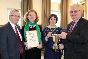 This year the Cuthbert Trophy was awarded to the West Antrim group for retaining the highest percentage of their members in 2018. Pictured receiving the trophy is Ivan Johnston, Hilary Maybin, and Linda McNeilly with Ivor Ferguson, UFU President.