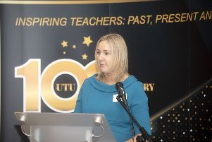 Lorraine McKnight, UFU, speaking at Ulster Teachers' Union Centenary Conference 2019 at Slieve Donard Hotel, Newcastle on Friday 5th April 2019. Chaired by Sam Gallaher, CEO; GTC NI, President's Address by Carney Cumper, B.Ed, President UTU 2018 ' 2019, Fraternal Greetings: Seamus Searson, General Secretary; SSTA, Presentation, Lexie Scott, Past-President and Hon. Vice-President, Avril Hall-Callaghan, outgoing UTU General Secretary, Jacquie White, incoming UTU General Secretary, so begin at UTU Centenary Conference 2019.
