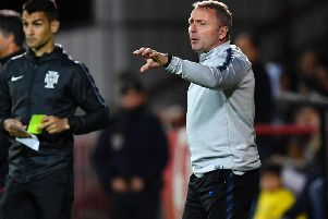 Head coach Paul Simpson of England gives instrutions during the International Friendly match between Portugal U20 and England U20 at Stadium Municipal. (Photo by Octavio Passos - Getty Images)