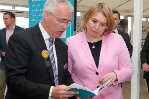Secretary of State for Northern Ireland Karen Bradley with head of Ulster Bank Richard Donnan at the Balmoral Show on Thursday