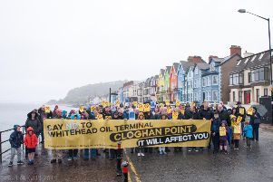 Opposition in Whitehead to the Cloghan Point development proposal. Pic by Rachel Louise Photography.
