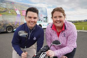 Royal Portrush Golf Club assistant professionals Charlene Reid and Tom Minshull get ready to travel to The 148th Open at Royal Portrush Golf Club, July 14  21, when Translink has put in place special bus, coach and train options  visit www.translink.co.uk/the148thopen for details.