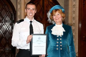 Special Constable Jake Sloane receiving his award at the West Sussex awards ceremony