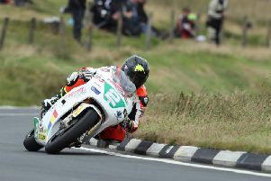 Bruce Anstey on the Padgetts Honda RS250 at the Classic TT in 2017.