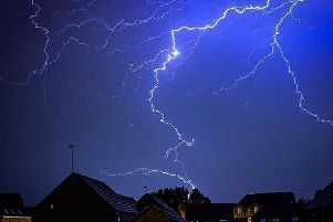 Lightning during last night's thunderstorm. Photo by Paul Middleton