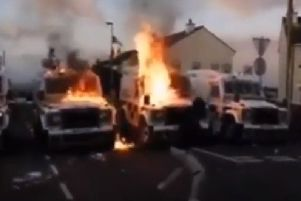 The scene in Creggan last night as captured on videos uploaded to Youtube.