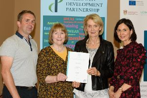 Neill Duffy, CE Supervisor, Martina Needham ETB, Collette Foley, Level 5 Certificate Major Award in Business Administration and Sinead McDaid, Tutor IDP  at the IDP Celebration of Learners' Success event in the Sliabh Sneacht Centre, Drumfries . Photo Clive Wasson