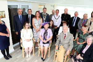 Serve's new conservatory: members of Serve pictured with representatives of local councils, charitable organisations that donated to the build and the Lord Lieutenant and his wife, Mr and Mrs David Laing