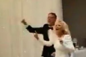 These newlyweds chanted 'f**k the Pope and the I.R.A.' as they were greeted by their guests at their own wedding ceremony last week.