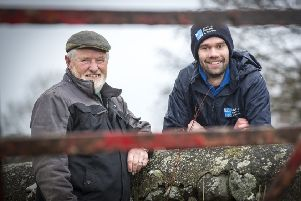 Farmer Jack Kelly from east Co Down chats to the RSPB NI's policy offcer Phil Carson about the ongoing work on his farm