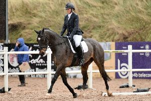 Sharon McKeever riding Cosmic Rolo, winners of the Intro A Dressag
