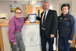 Amy Henshaw, Southern Area Hospice fundraiser, representing the chosen charity and Lawson Burnett NE Armagh UFU group manager and Roberta Simmons, UFU membership development officer, representing the event organisers.