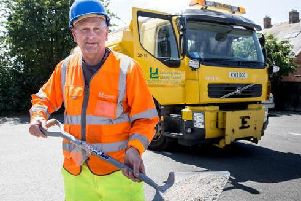 David Statham has been dusting roads across the county to protect them from melting