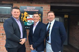 The new Market Harborough coaching team of Chris Bale, Joe Hill and Richard Bowden