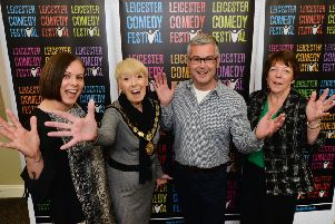 Comedy launch...Sairah Butt Market & Events manager, Lesley Bowles chairman of Harborough District Council, Geoff Rowe Director of Leicester Comedy and Bev Jolly joint chief executive of Harborough District Council during the launch at the Angel hotel.'PICTURE: ANDREW CARPENTER NNL-180611-160223005