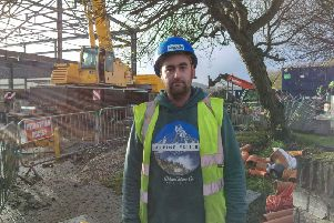 Daniel McLaughlin pictured on site during the construction of the new Learning Disability Centre.