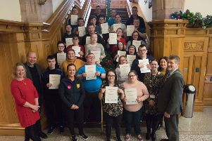Participants on the Youth Ni's Beacon Programme pictured at the Guildhall.