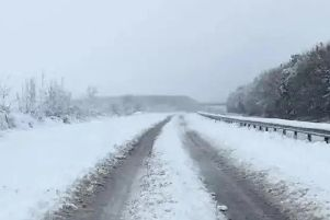The A14 in December 2017 when heavy snow hit the county. (Pic: Northants Police)