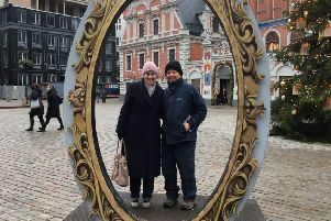 Roger Corke and his wife Lynn on their costly festive trip to Latvia for a Christmas market in December