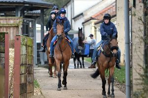 Stable staff at Kremlin House Stables, Newmarket