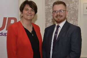 DUP leader Arlene Foster with local election candidate Kyle Black