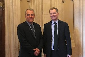 From left, Richard Hall, Post Office head of external affairs, and Neil OBrien MP