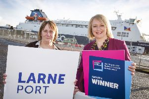 Sally Bonnes, Larne Port and Helen Bowman, Business in the Community.