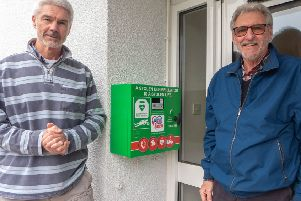 (Left to right), Paul Minter and Richard Bramall from Summersdale Residents' Association with the new defibrillator