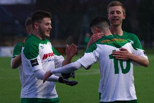 Bognor celebrate No10 Leon Maloney's goal / Picture by Tommy McMillan