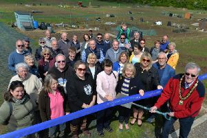 Lutterworth Town Mayor Brian Poulter gets ready to open the new allotments in Lutterworth. PICTURE: ANDREW CARPENTER